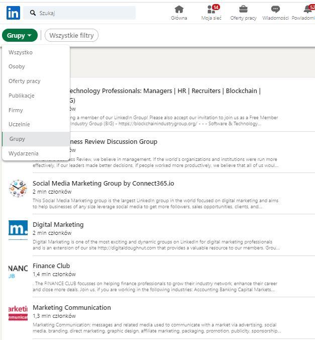grupy na LinkedIn